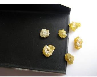 ON SALE 50% Yellow Diamonds, Drilled Raw Diamonds, Rough Diamond, Raw Uncut Diamond - 1 Piece 5-6mm Each Approx