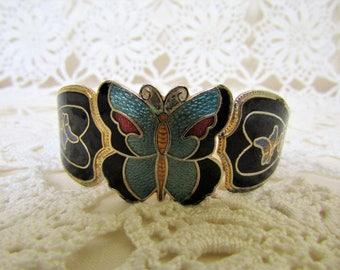 Vintage Cloisonne Bracelet. Butterflies and Flowers Bracelet. Hinged, Metal Cloisonne Bangle. 1980s Bracelet. Butterfly Bracelet.