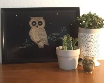 Mid Century Modern Vintage Couroc Owl Rectangular Tray