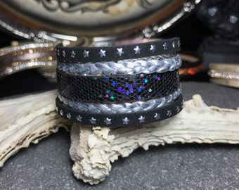 Black and Silver Star Cuff Bracelet