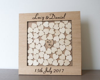 Wedding guest book alternative with 50 hearts, Rustic Wedding, wedding guest book, drop box