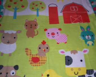 Brand New Beautiful Farmer in the Dell Farm Animals Baby Gift Double Sided Hand Tied Fleece Rag Blanket / Throw