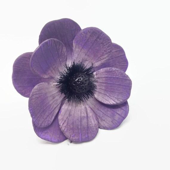 Dark Purple Anemone Sugar Flowers for wedding cake toppers, gumpaste, fondant, cake decorators, DIY weddings