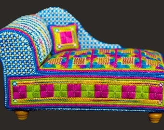 3D Canvaswork Embroidery - Chaise Longue Pincushion - INSTANT DOWNLOAD