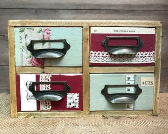 Set of four up cycled desktop drawers