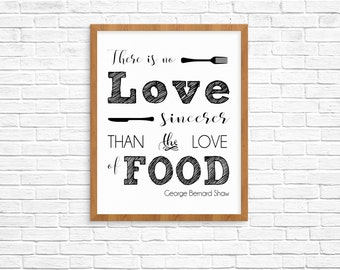 Love of Food Quote by George Bernard Shaw -- Instant Download Digital File