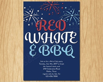 4th of July Independence Day Printable Invitation, Red White and Blue 4th of July Patriotic Party Invite, Fireworks, Digital File PI003
