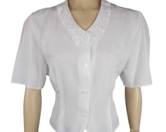 80s Yessica Short Sleeve Button Front Blouse with Lace Collar White UK 12