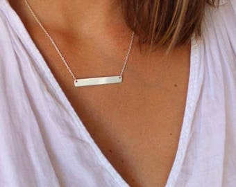 Necklace with rectangular pendant in sterling silver, dainty minimalist necklace rectangle plate necklace