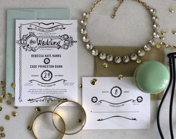 PRINTABLE Wedding Invitation Suite | Gilded Love in Black & White