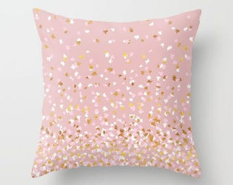 Throw Pillow - Floating Confetti Dots - Pink Blush White Gold - Square Cover 16x16 18x18 20x20 24x24 - Insert Optional