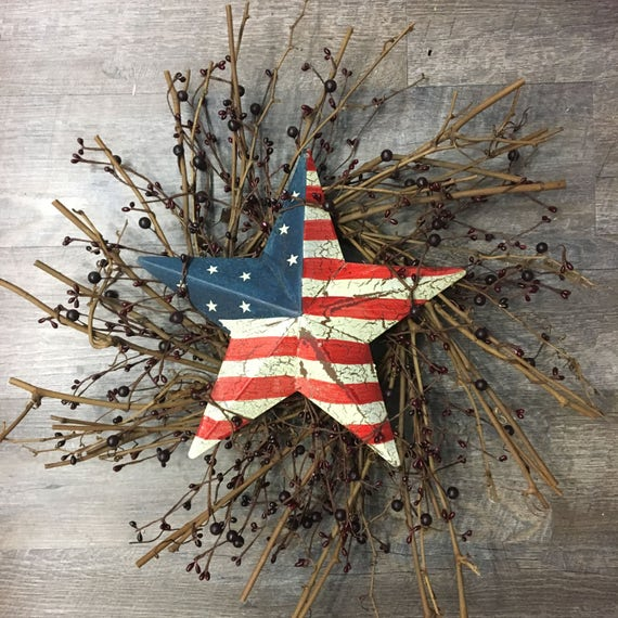 "22"" Twig and Berry Wreath with Rustic Americana Star"