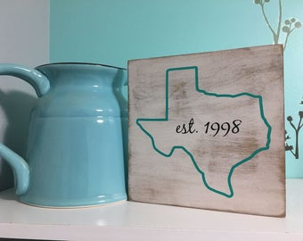 Rustic Wooden State Outline Established Sign/Home Sign/State Sign/State Outline Sign/Established Wood Sign/Housewarming Gift/Closing Gift
