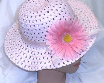 Girls Toddler Girls Easter Hat Easter Bonnet Spring Hat Teaparty Hat Pink with Pink Daisy
