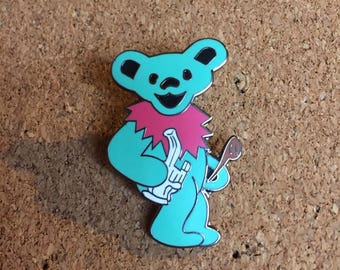 Green and Pink Grateful Dead Stoner Dabbing Bear Hat Pin