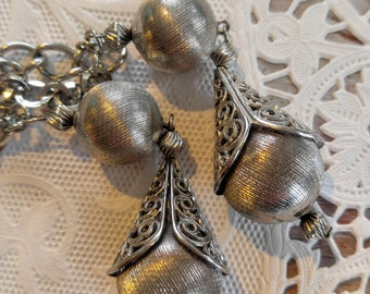 AWESOME Silver Chain Belt and or Necklace-Retro Fun-Long-Dual Chain-Dangles--All Orders Only .99c Shipping!