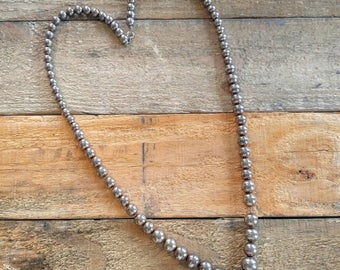 INDUSTRIAL Stainless Steel Metal Vintage Long Beaded Necklace-So Unusual-Silver, Beads, Balls-All Orders Only 99c Shipping!!