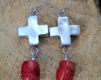 Sterling Silver Cross earrings w/ red coral beads