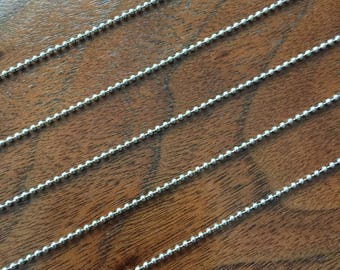 "NOW!! LOW PRICE!! Lot of 15 (fifteen)!! 1.5mm 24"" stainless steel ball chain necklaces with connectors"