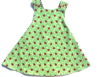 Cherries and Black Gingham Sundress, Ladybug Sundress, Reversible Sundress, Infant Sundress, Toddler Sundress, Ladybug Baby, Cherry Dress