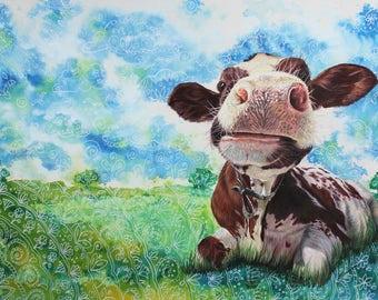 Original Cute Cow Drawing 'Trang-cow-lity' - cute cow, cattle art, farm art, farm animal art, cow art, cow drawing, nursery art