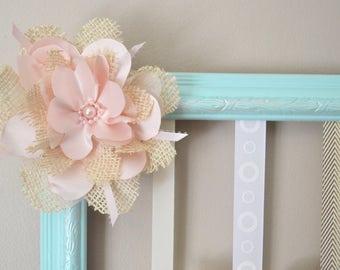 Hair Bow Holder, Baby Girl Nursery, Wall Art, Girl, Vintage, Shabby Chic, Mint, Ivory.