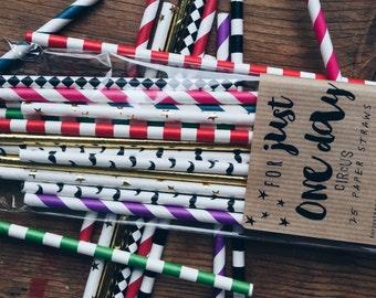 Circus | Paper Straws | Children's | birthday | party | traditional | vintage | stripe | star | moustache | wedding | vaudeville | 25 straws