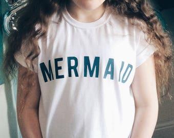 Mermaid T-shirt, Mermaid slogan Tee, Custom t-shirt, custom print top, name t-shirt, personalised gift, childs Mermaid T-shirt, mermaid gift
