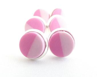Clay earrings, clay studs, earrings, studs, polymer earrings, pink, polymer clay, half and half, small studs, handmade, every day, simple