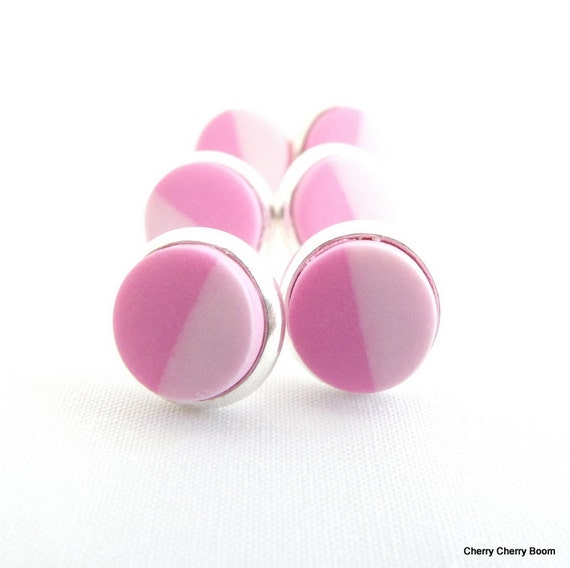 Clay earrings, clay studs, earrings, studs, polymer earrings, pink, polymer clay, half and half, small studs, handmade, every day, simple