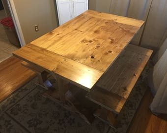 Dining Room Table Set W/ Trestle Legs