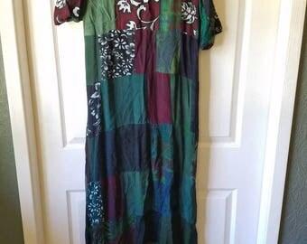 long maxi boho bohemian hippie design print patchwork women's dress