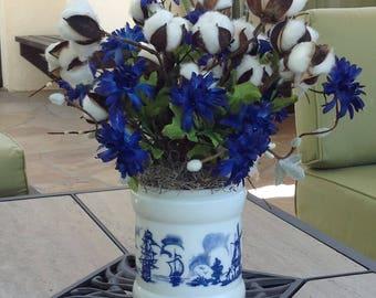 Cotton Stem Arrangement In White and Blue-N V Willem II Sigarenfabrieken Crock-Opaline Crock-Second Anniversary Gift-Cotton Centerpiece