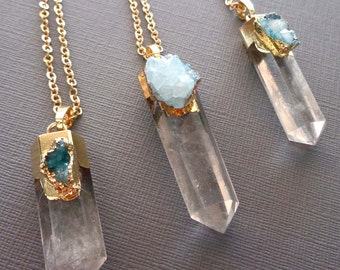 Crystal Quartz Pillar Necklace with Blue Druzy/ Electroplated Crystal Point Quartz / Blue Druzy Chakra Point Pendant / Large Crystal -GP36