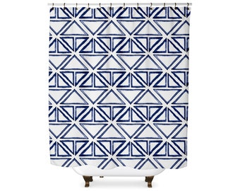 Indigo tribal triangle pattern shower curtain