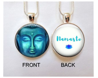 Buddha Necklace - Buddha Namaste Pendant -Meditation Necklace -Yoga Teacher Gift -Yoga Jewelry - Buddha Earrings -Spiritual Gifts
