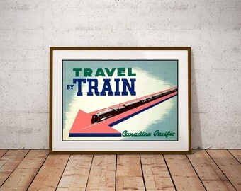 Canadian Pacific Railways Poster-Travel By Train-Art Deco 1930's Image-CP Rail