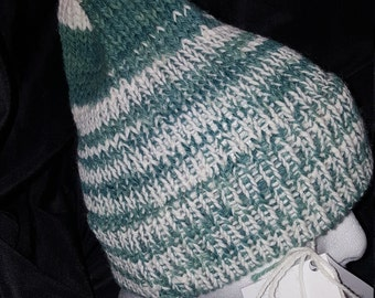 Alpaca Blend Hat, White and Green stripe, Adult size