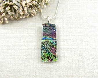 Green, Blue and Red Patterned Dichroic Necklace - Thin Fused Dichroic Glass Pendant - Handmade Dichroic Glass Jewelry