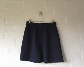 high waisted navy blue skirt