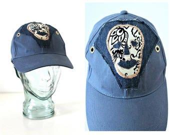Baseball cap Denim hat Unisex hat Tribal Skull applique Steampunk Goth Festival Sun hat Peaky Blinder Made in Ireland Bohemian Unique hat
