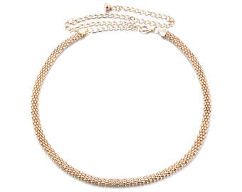 Womens Gold Mesh Ladies Girls Waist Band Metal Chain Charm Belt Fashion Skinny