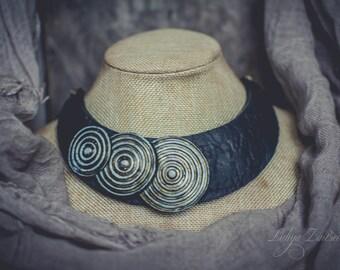 Statement necklace large Bib necklace elegant necklace leather imitation necklace patina blue black necklace polymer clay necklace