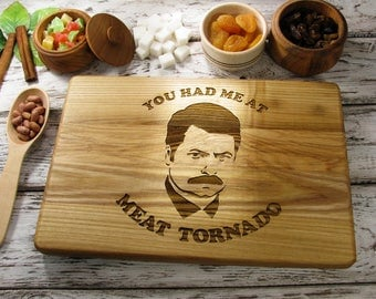 Ron Swanson Cutting Board Personalized, Parks and Recreation Cutting Board, You Had Me At Meat Tornado Cutting Board, Birthday, Father Gift
