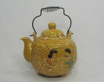 Gold Glazed Ceramic Teapot Kettle Handle Tea Time Made in Japan