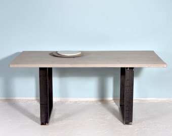 Dining table made of reclaimed wood and iron BRUNSSUM GREY WASH