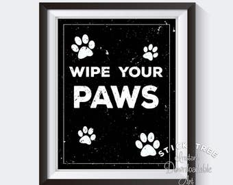 Wipe Your Paws - Black and White Digital Print, Mud Room Print, Laundry Room Art, Laundry Room Decor, Foyer Decor, Foyer Art, Welcome Print