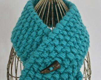 Chunky, Hand-knit, 100% Wool Scarf, Seed Stitch, Teal, Horn Button, Adjustable Length