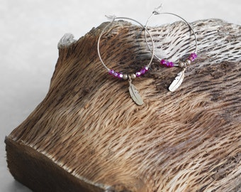 Creole earring - feather and Swarovski