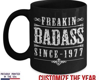 Freakin BadAss Mug, 40th Birthday, 1977 Birthday, 40th Birthday Gift, 40th Birthday Idea, Vintage, 1977, 40th Birthday Gift for 40 year old